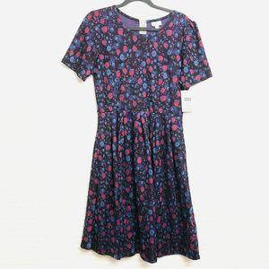 LuLaRoe Amelia Womens XL Black Blue Floral Dress